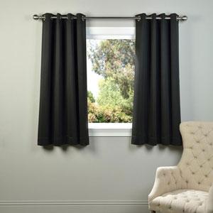 Black 63 x 50-Inch Grommet Blackout Curtain Panel Pair
