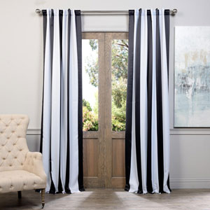 Awning Black and White Stripe 108 x 50-Inch Blackout Curtain Single Panel