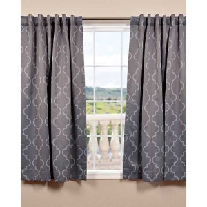 Seville Gray and Silver 63 x 50-Inch Blackout Curtain Single Panel