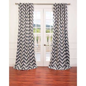 Fez Gray and Tan 96 x 50-Inch Blackout Curtain Single Panel