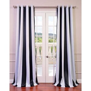 Awning Black and White Stripe 84 x 50-Inch Curtain Single Panel