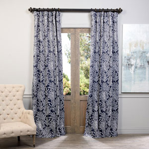 Navy Flora 50 x 96-Inch Blackout Curtain