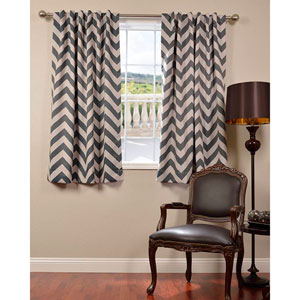 Fez Grey and Tan 63 x 50-Inch Blackout Curtain Single Panel