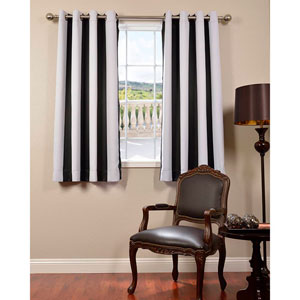 Awning Black and White Stripe 63 x 50-Inch Grommet Blackout Curtain Single Panel