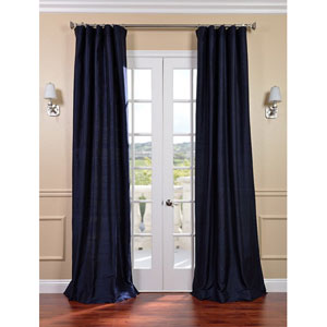 Navy Textured Dupioni Silk Single Panel Curtain, 50 X 84