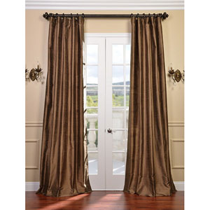 Mocha Gold Textured Dupioni Silk Single Panel Curtain, 50 X 96