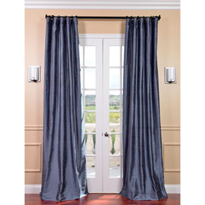 Winter Blue Textured Dupioni Silk Single Panel Curtain, 50 X 96