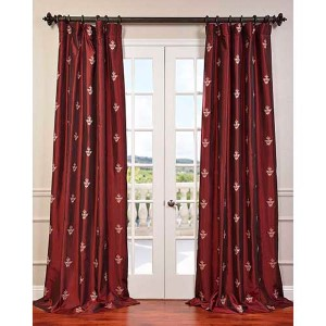 Trophy Red 96 x 50-Inch Embroidered Faux Silk Taffeta Curtain Single Panel