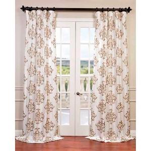 Ankara White 96 x 50-Inch Embroidered Faux Silk Taffeta Curtain Single Panel