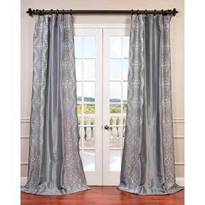 Chai Silver 96 x 50-Inch Embroidered Faux Silk Taffeta Curtain Single Panel