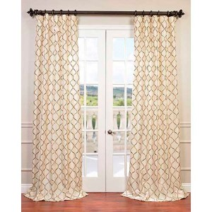Tunisia Ivory 96 x 50-Inch Embroidered Faux Silk Curtain Single Panel