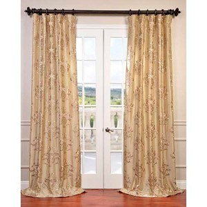 Ankara Champagne 96 x 50-Inch Embroidered Faux Silk Curtain Single Panel