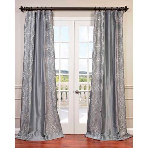 Chai Silver 84 x 50-Inch Embroidered Faux Silk Taffeta Curtain Single Panel