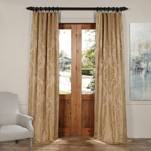 Magdelena Beige and Gold 50 x 84-Inch Faux Silk Jacquard Curtain