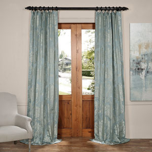 Magdelena Steel Blue and Silver 50 x 120-Inch Faux Silk Jacquard Curtain