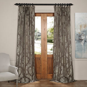 Magdelena Slate and Silver 50 x 120-Inch Faux Silk Jacquard Curtain