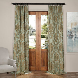 Magdelena Jade and Gold 50 x 120-Inch Faux Silk Jacquard Curtain