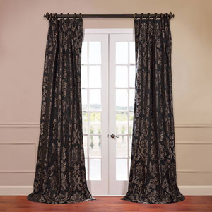 Astoria Black 50 x 96-Inch Jacquard Curtain