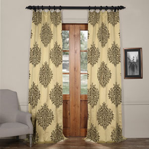 Ellaria Silver Dew 120 x 50-Inch Faux Silk Jacquard Curtain