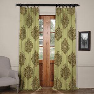 Ellaria Mantis Green 120 x 50-Inch Faux Silk Jacquard Curtain