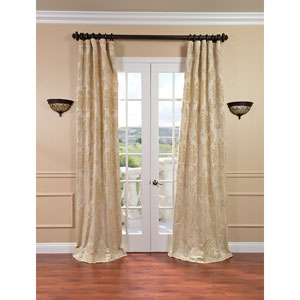 Magdelena Champagne Faux Silk Jacquard Single Panel Curtain, 50 X 84