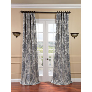 Magdelena Silver and Blue Faux Silk Jacquard Single Panel Curtain, 50 X 96