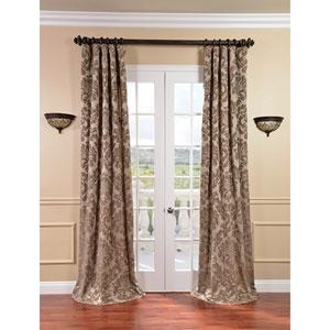 Astoria Taupe and Mushroom Faux Silk Jacquard Single Panel Curtain, 50 X 96