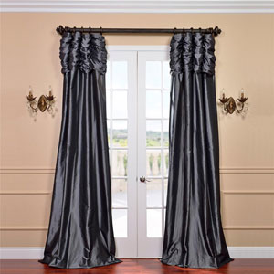 Ruched Graphite 108 x 50-Inch Faux Silk Taffeta Curtain Single Panel