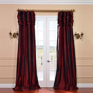 Ruched Syrah 96 x 50-Inch Faux Silk Taffeta Curtain Single Panel