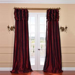 Ruched Syrah 96 x 50-Inch Faux Silk Taffeta Curtain Single Panel