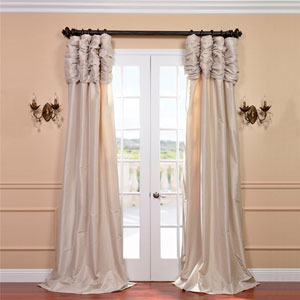 Ruched Antique Beige 96 x 50-Inch Faux Silk Taffeta Curtain Single Panel