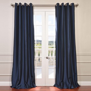 Navy Blue 96 x 50-Inch Grommet Blackout Faux Silk Taffeta Curtain Single Panel