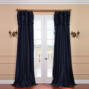Ruched Navy Blue 96 x 50-Inch Faux Silk Taffeta Curtain Single Panel