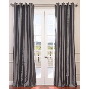 Graphite 96 x 50-Inch Grommet Blackout Faux Silk Taffeta Curtain Single Panel