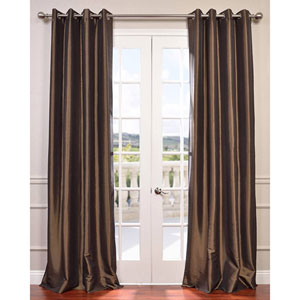Mushroom 120 x 50-Inch Grommet Blackout Faux Silk Taffeta Curtain Single Panel