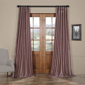 Smoky Plum Vintage Textured Faux Dupioni Silk Single Panel Curtain, 50 X 96