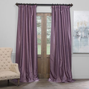 Smokey Plum 50 x 96-Inch Blackout Vintage Textured Faux Dupioni Silk Curtain
