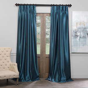 Green 25 x 96-Inch Blackout Vintage Textured Faux Dupioni Silk Pleated Curtain