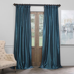 Peacock 50 x 96-Inch Blackout Vintage Textured Faux Dupioni Silk Curtain