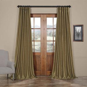Warm Stone 50 x 120-Inch Vintage Textured Faux Dupioni Silk Curtain