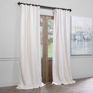 Ivory 25 x 96-Inch Blackout Vintage Textured Faux Dupioni Silk Pleated Curtain