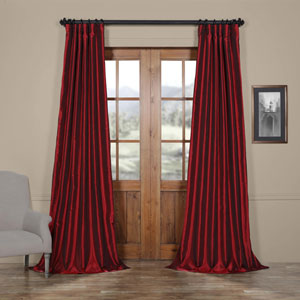 Ruby Vintage Textured Faux Dupioni Silk Single Panel Curtain, 50 X 120
