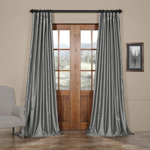 Storm Grey Vintage Textured Faux Dupioni Silk Single Panel Curtain, 50 X 96
