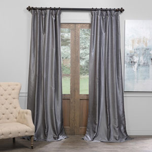 Storm Gray 50 x 108-Inch Blackout Vintage Textured Faux Dupioni Silk Curtain