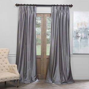 Gray 25 x 96-Inch Blackout Vintage Textured Faux Dupioni Silk Pleated Curtain
