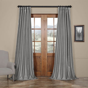 Silver Vintage Textured Faux Dupioni Silk Single Panel Curtain, 50 X 96