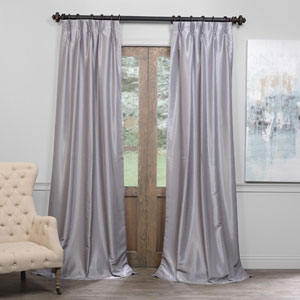Silver 25 x 96-Inch Blackout Vintage Textured Faux Dupioni Silk Pleated Curtain