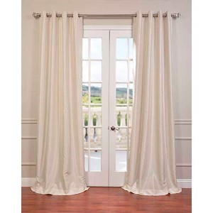 Ivory 108 x 50-Inch Vintage Textured Grommet Blackout Curtain Single Panel