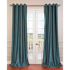 Peacock Green 96 x 50-Inch Vintage Textured Grommet Blackout Curtain Single Panel