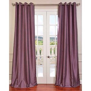 Smokey Purple 96 x 50-Inch Vintage Textured Grommet Blackout Curtain Single Panel